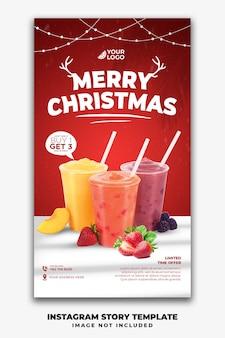 Plantilla de historias de instagram de navidad para restaurante, menú de comida, bebida, jugo
