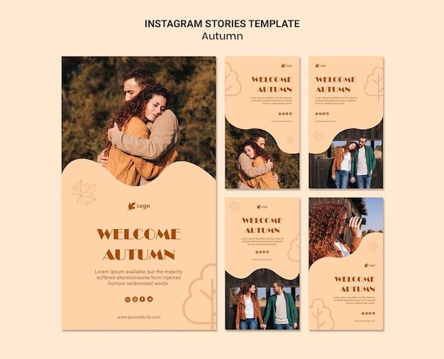 Plantilla de historias de instagram de otoño