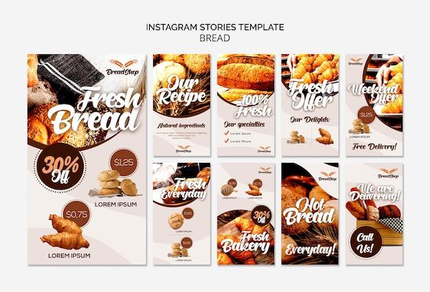 Plantilla de historias de instagram de pan fresco