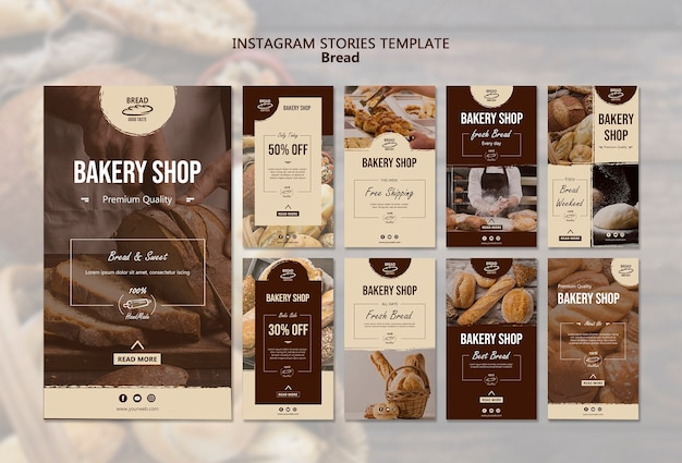 Plantilla de historias de instagram de pan