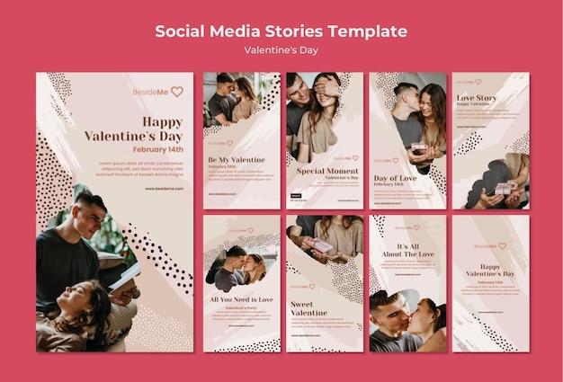 Plantilla de historias de instagram de pareja feliz día de san valentín