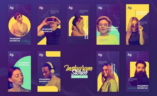 Plantilla de historias de instagram con personas y dispositivos digitales