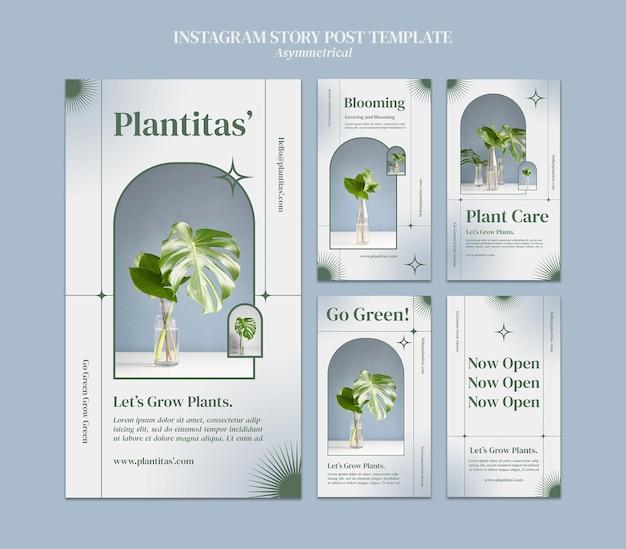 Plantilla de historias de instagram de plantas en crecimiento