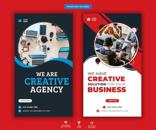 Plantilla de historias de instagram de promoción de agencia creativa