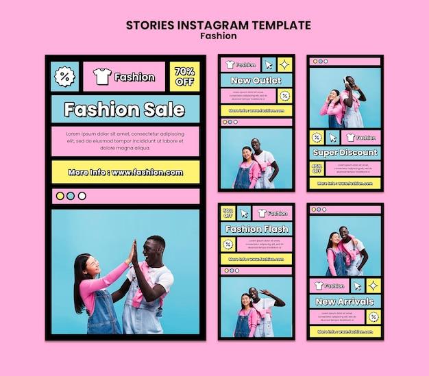 Plantilla de historias de instagram de rebajas de moda