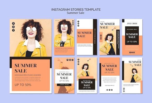 Plantilla de historias de instagram de rebajas de verano