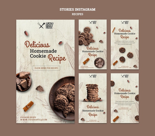 Plantilla de historias de instagram de receta de galletas