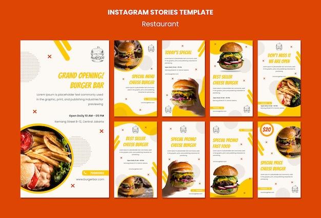 Plantilla de historias de instagram de restaurante de hamburguesas