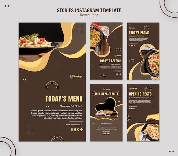 Plantilla de historias de instagram de restaurante de pasta