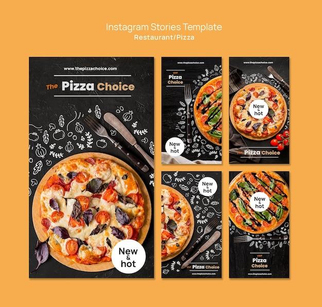 Plantilla de historias de instagram de restaurante de pizza