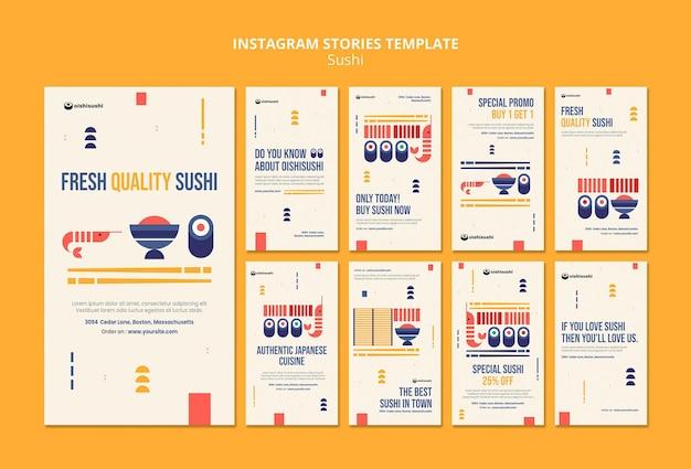Plantilla de historias de instagram de restaurante de sushi