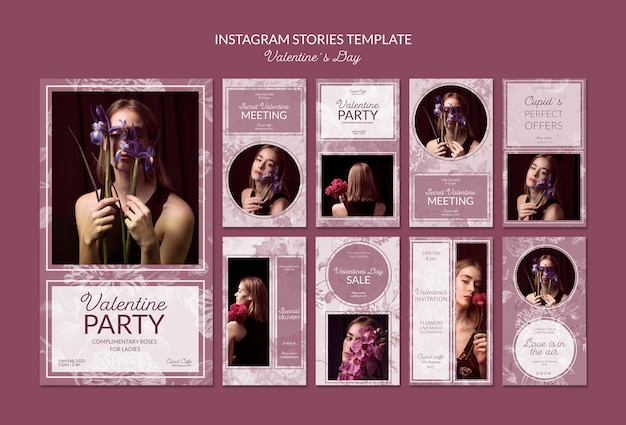 Plantilla de historias de instagram de san valentín