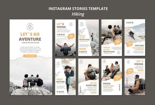 Plantilla de historias de instagram de senderismo
