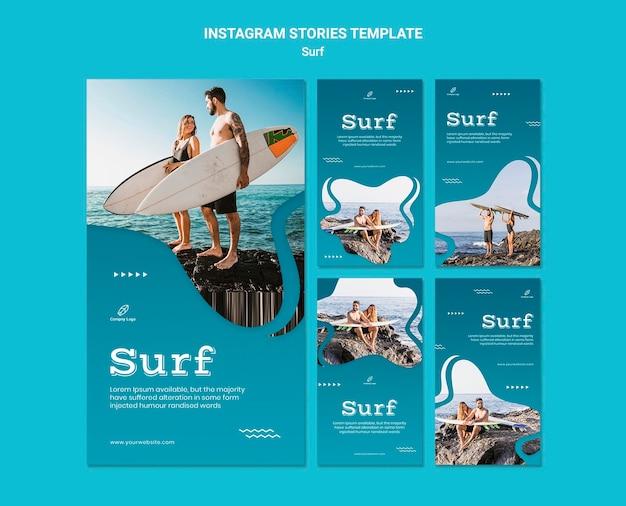 Plantilla de historias de instagram de surf y relax