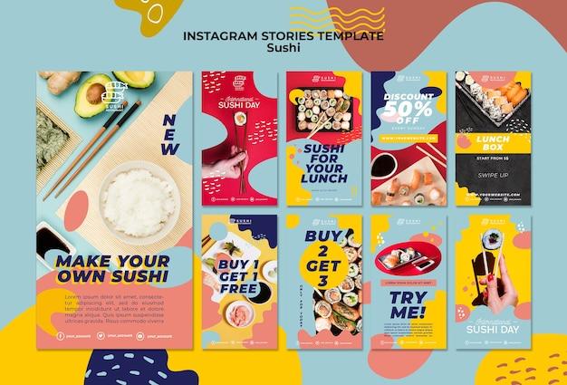 Plantilla de historias de instagram de sushi
