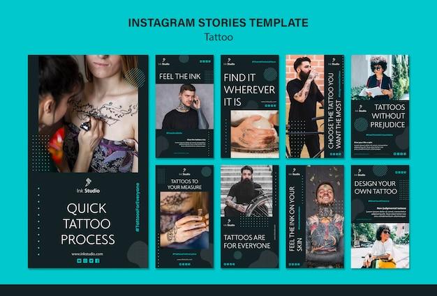Plantilla de historias de instagram de tatuaje