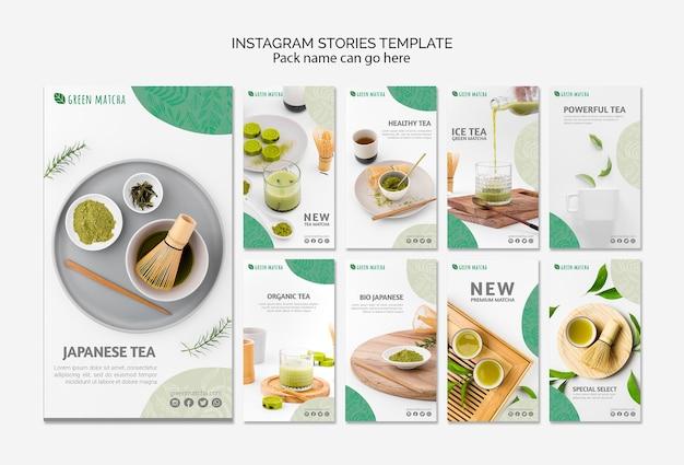Plantilla de historias de instagram de té matcha