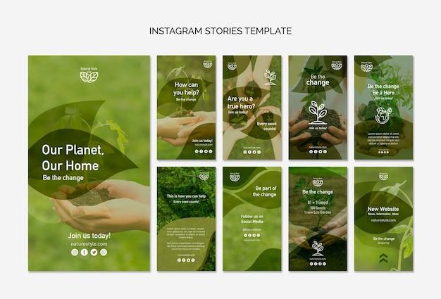 Plantilla de historias de instagram con tema ambiental