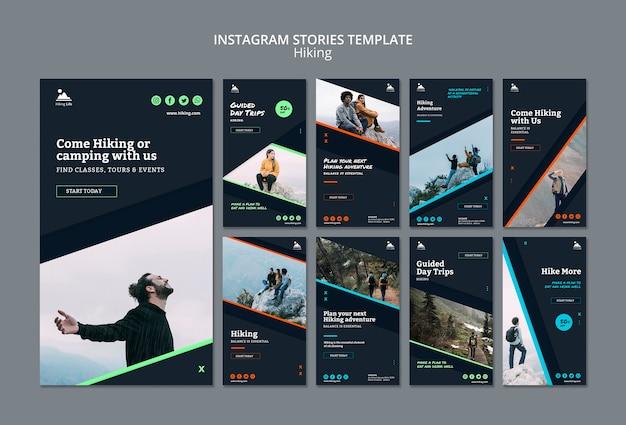 Plantilla de historias de instagram con tema de senderismo