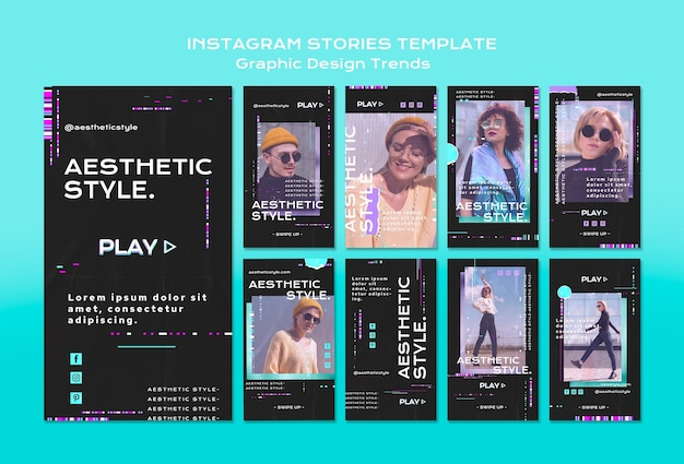 Plantilla de historias de instagram de tendencias de diseño gráfico