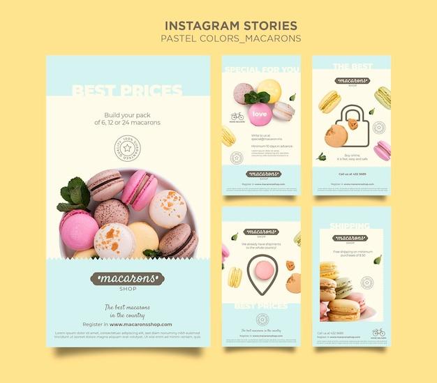 Plantilla de historias de instagram de tienda de macarons