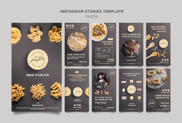 Plantilla de historias de instagram de tienda de pasta