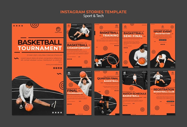 Plantilla de historias de instagram de torneos de baloncesto
