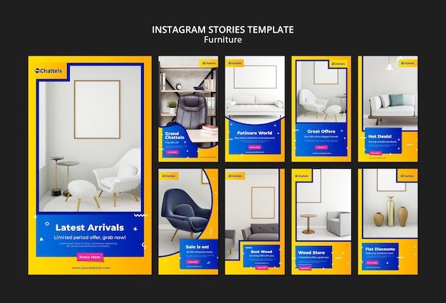 Plantilla de historias de instagram de venta de muebles