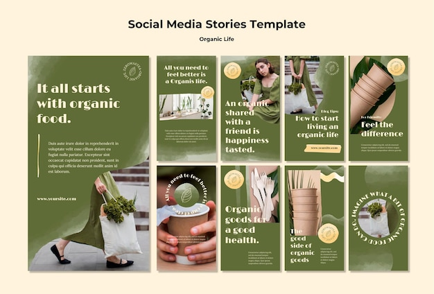 Plantilla de historias de instagram de vida orgánica