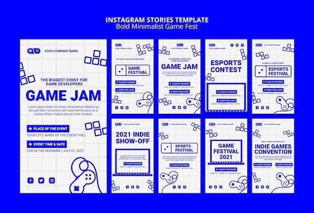 Plantilla de historias de instagram de videojuegos jam fest