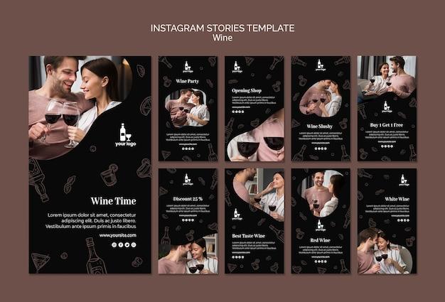 Plantilla de historias de instagram de vino