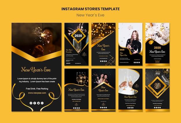 Plantilla de historias de instagram para la víspera de año nuevo