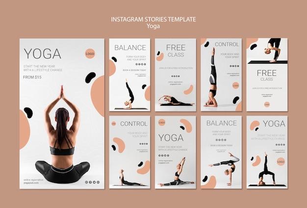 Plantilla de historias de instagram de yoga