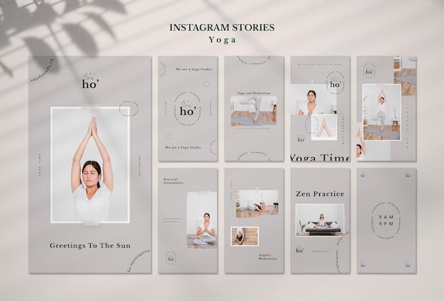 Plantilla de historias de instagram con yoga