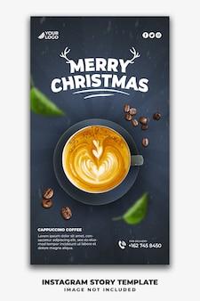 Plantilla de historias navideñas de instagram para menú de comida de restaurante beber café