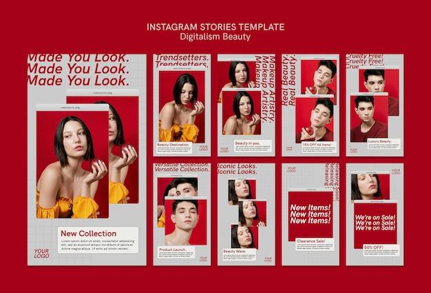 Plantilla de historias de redes sociales de belleza de digitalismo