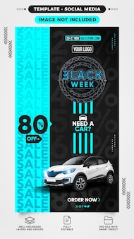 Plantilla de historias de redes sociales black week necesita un automóvil con 80 de descuento