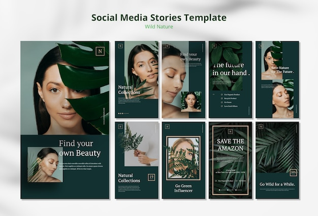 Plantilla de historias de redes sociales de concepto de naturaleza salvaje