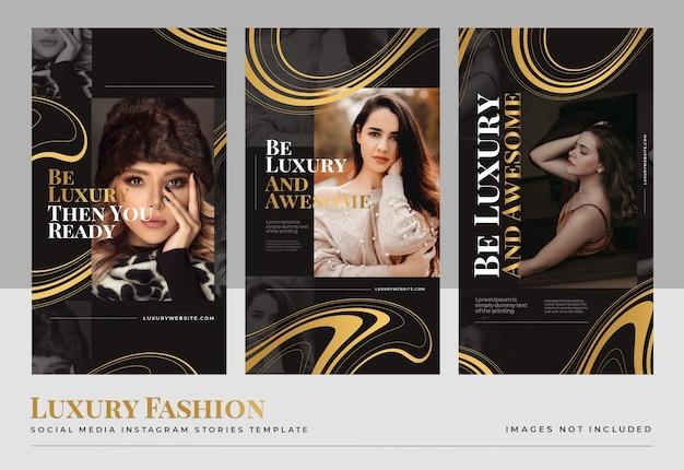 Plantilla de historias de redes sociales de moda de oro de lujo