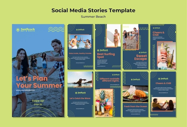 Plantilla de historias de redes sociales de playa de verano