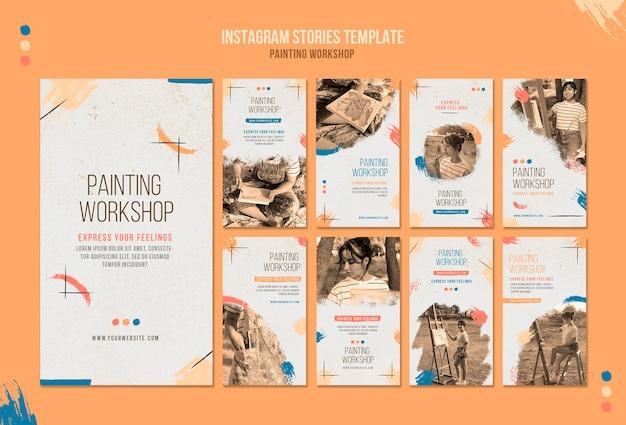 Plantilla de historias de redes sociales para taller de pintura