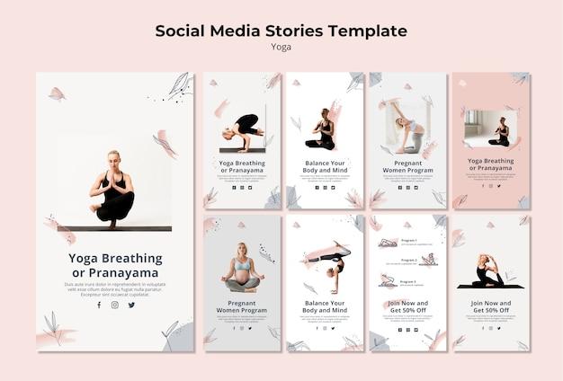 Plantilla de historias de yoga en redes sociales
