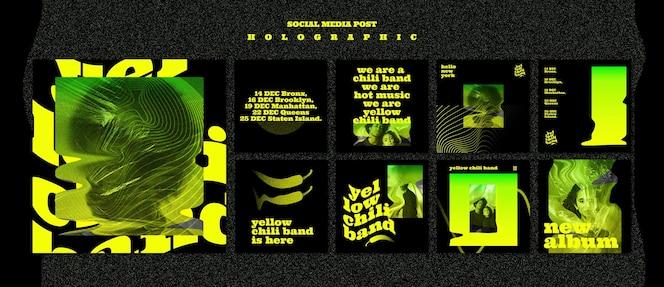 Plantilla holográfica de publicación en redes sociales