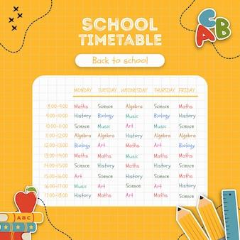 Plantilla de horario escolar amarillo brillante