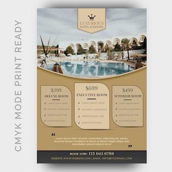Plantilla de hotel de lujo para póster, folleto, página de la revista.