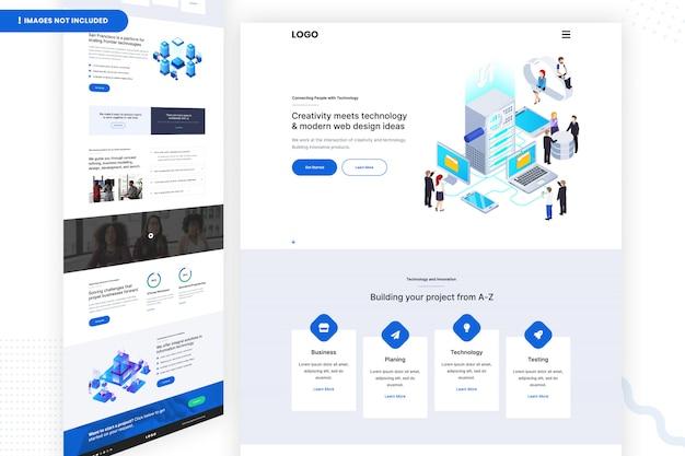 Plantilla de ideas de creatividad y tecnología y diseño web moderno
