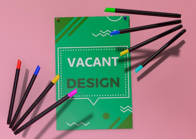 Plantilla de identidad corporativa de negocios para flyer y lápices
