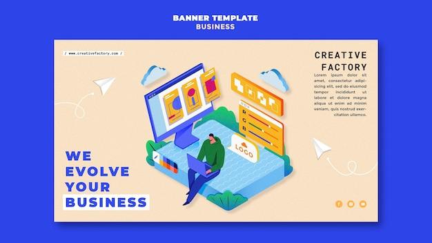 Plantilla ilustrada de banner empresarial