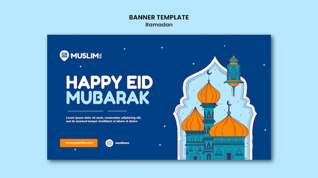Plantilla ilustrada de banner de ramadan kareem