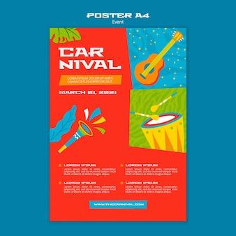 Plantilla ilustrada de cartel de carnaval